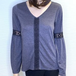 Knox Rose Long Sleeve with Lace Detail Bell Sleeve